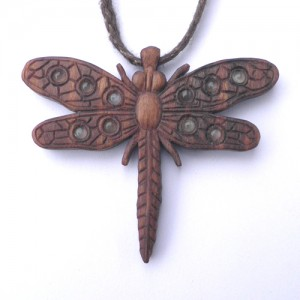 Dragonfly necklace in walnut and moonstone.