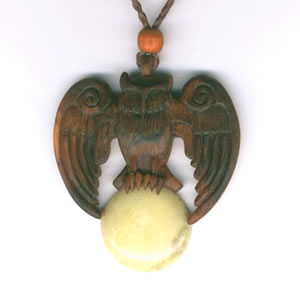 owl pendant in yew and marble