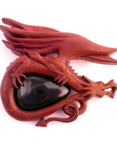 Dragon brooch - cherry obsidian