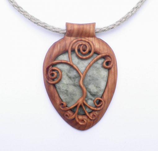 Curly tree pendant in rowan & Scottish marble