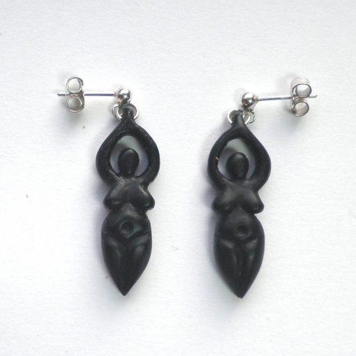 goddess earrings in ebony