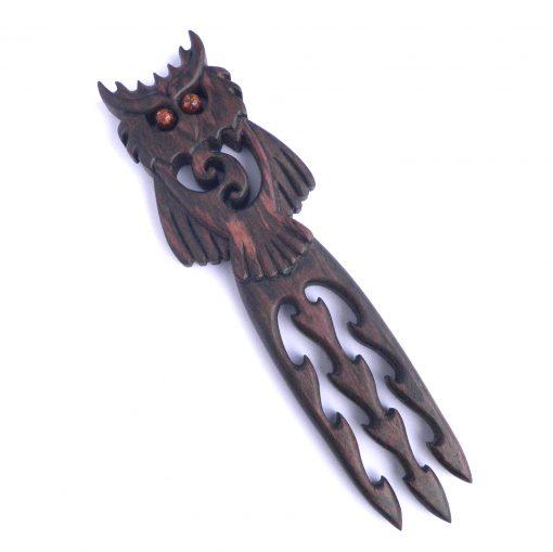 Owl hair fork in walnut