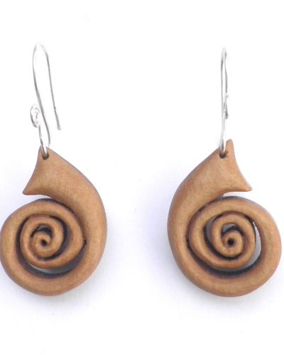 spiral earrings in holly