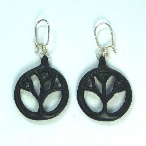 tree earrings in ebony