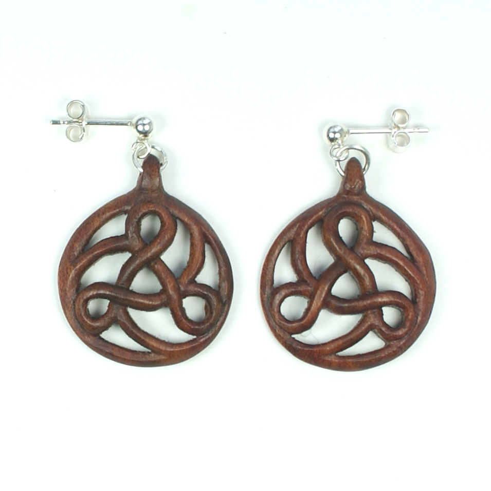 Art Nouveau Triskele earrings in walnut.