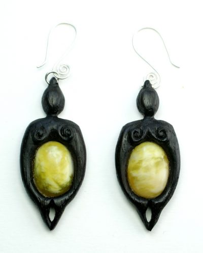 mother nurture earrings bog oak marble