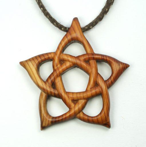 Pentacle pendant in yew