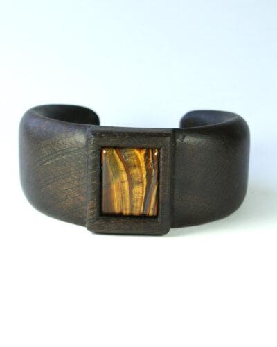 Wooden bracelet bog oak tiger eye