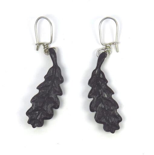 oak leaf earrings bog oak