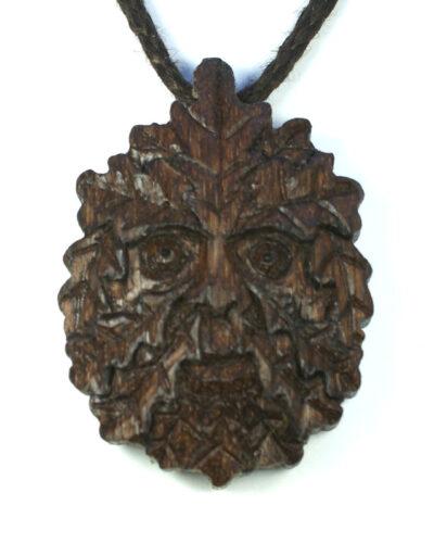 green man pendant bog oak